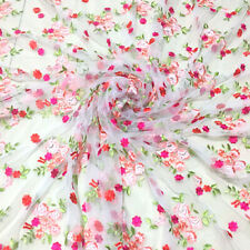 1 Yard 3D Flowers Embroidery Tulle Mesh Lace Fabric For Bridal Dress DIY 56 in