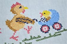 EASTER MOMMY HEN & CHICK IN BABY CARRIAGE! VTG GERMAN HAND EMB SPRING TABLECLOTH