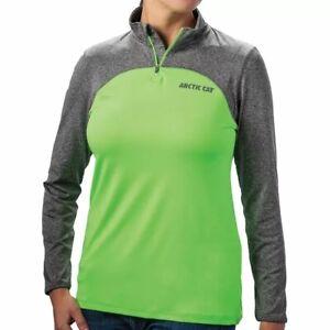 Arctic Cat Women's 1/4 Zip Tee Shirt Lime Green Size Medium 5273-982