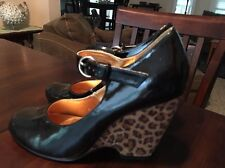 Cute Leopard Wedge Patent Leather Heels