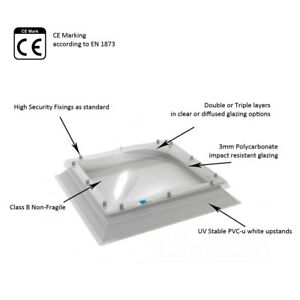 Coxdome Rooflight - Fixed Skylight Dome for Flat Roof + Upstand/Kerb Triple Skin