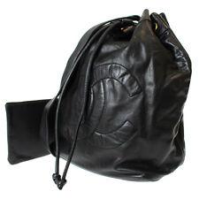CHANEL CC Logo One Shoulder Bag Black Lambskin Leather Vintage Authentic #8069 W