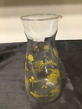 VIntage retro Glass Decanter With Pouring Lip Yellow Patterns Farming JAJ