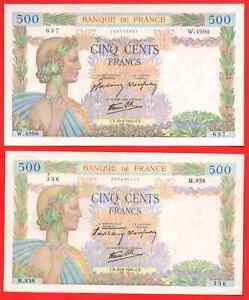 2 billets 500 Francs La Paix 1940/1942