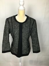 NARCISO RODRIGUEZ Jacket Black Gray White  Open Front Formal Career Blazer Sz L