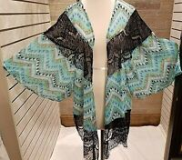 Plus Size 2X Women's Maxi Boho Kimono Sheer Lace NWT Turquoise,Black Multi