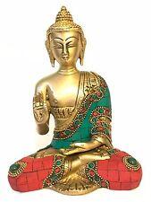 """Heavy 6.5"""" Rare Brass Gem Stone Turquoise Work Gautama Buddha Shakyamuni Statue"""