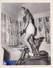 Vera Ralston rides exercize bike VINTAGE Photo