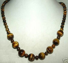 Beautiful Natural 6mm & 10mm Tiger Eye Stone Beads Necklace 18'' AAA+