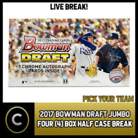 2017 BOWMAN DRAFT JUMBO BASEBALL 4 BOX (HALF CASE) BREAK #A523 - PICK YOUR TEAM