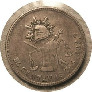 elf Mexico 25 Centavos 1877 ZsS Silver