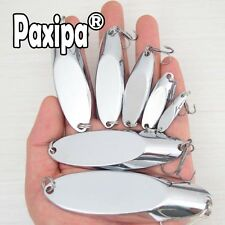 Lot 10 Metal Spoon Fishing Lure Bass Bait Stainless Steel Split Ring Treble hook