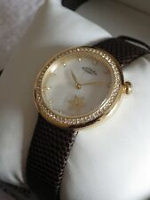 Rotary Ladies LS03896/40 Mother of Pearl Gold Flower Dial Leather Watch NEW £129