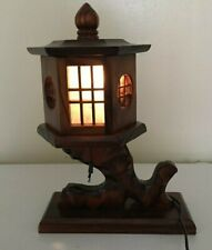 Lamp Hand Carved, Handmade Pagoda Table Lamp, Asia Decor, Vintage,Window,