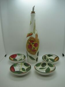 Pampered Chef Oil Dipping Set Bottle W/Pour Spout 4 Bowls Retired 2310