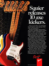 "1987 Fender Squier Guitar photo ""Releases 10 Axe Kickers"" vintage promo print ad"