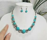 PAPARAZZI Turquoise and Silver Tone Graduated Bead Choker Necklace and Bead Earr
