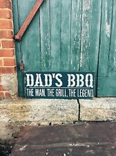 "Large Rustic Wood Sign - ""Dad's BBQ The Man The Grill The Legend"" - Fathers Day"
