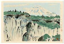 1940 Orig TOKURIKI TOMIKICHIRO Japanese Woodblock Print -Fuji from Shiraito Fall