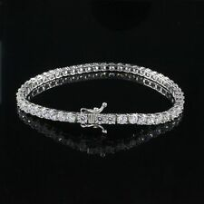 "3 CT D/VVS1 Solid 14K White Gold Round Cut Classic Tennis 7.25"" Bracelet"