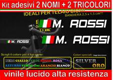 kit 2 adesivi NOME TRICOLORE XL, mtb, bici, corsa, casco, telaio, downhill