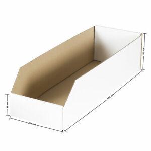 45 x Sichtbox Regalkarton Regal Kartons Lager box Stapelbox (610 x 205 x 150 mm)