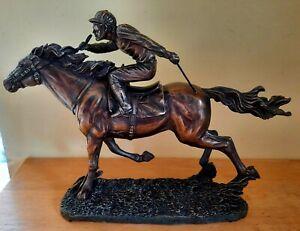 Jockey On Horse No.7 Veronese Bronzed Resin Ornament/Statue