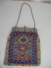 Antique Micro Beaded Rug Tapestry Pattern Evening Bag Enameled & Jeweled Frame