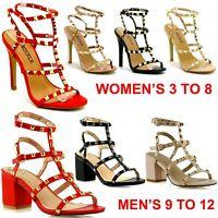 New Women's Men's Ankle Strap Studded Sandal Ladies Rivet Block Heel Party Shoes