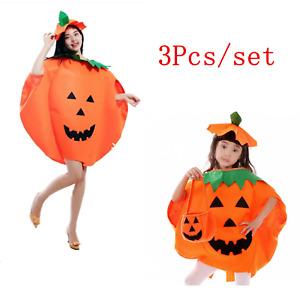2021 Halloween Adults Kids Pumpkin Fancy Dress Party Children Costume Outfit