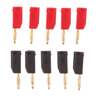 2mm Retractable Banana Plug Stackable Solder Type & Sleeve 10 in 1 Red/Black