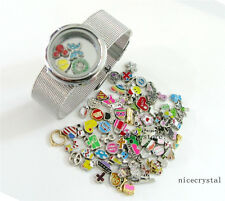 1p Plain Round Slide Floating Locket + Stainless steel wristbands+10 charms