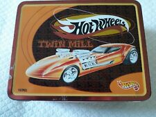 VINTAGE THERMOS BRAND METAL LUNCH BOX HOT WHEELS 1998 TWIN MILL MATTEL