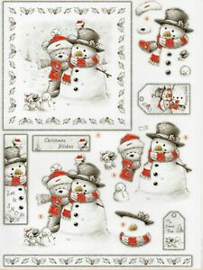 "3D Die Cut Christmas Decoupage ""Bear With Snowman"" DCD547"