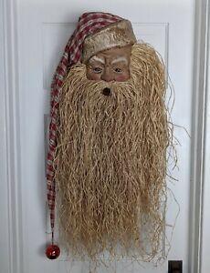 HUGE 3 ft. Vintage Paper Mache SANTA Head w/ Raffia Beard Door Hanging or Wreath