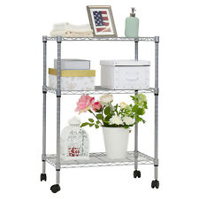3-Tire Rolling Shelving Wire Adjustable Home Kitchen Garage Storage Rack Unit
