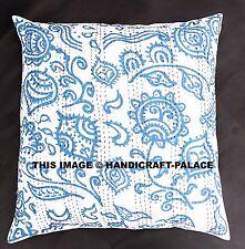 "Indian Kantha Outdoor Cushion Cover 24"" Vintage Decor Decorative Throw Bohemian"