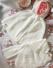 Vintage Baby Crochet Pattern Hooded Cape and Dress 0-9 months 4 ply