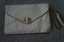 CC Skye Large Envelope Beige Leather Clutch Handbag Wristlet HARDFIND