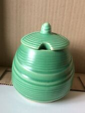 Vintage 1365 Made in England Jam Honey Preserve Lidded Pot Green 4 ½� tall