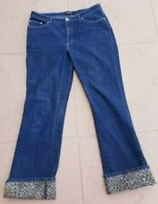 Cambio Jeans Size 12 - Blue Denim with Reverse Leopard Imprint - Brenda Style