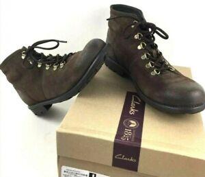 Clarks Men Darian Heath  Dark Brown Suede Ankle Boot Shoe Ortholite insole Sz 12