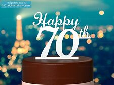 """""""Happy 70th"""" - White - 70th Birthday Cake Topper - Made by OriginalCakeToppers"""
