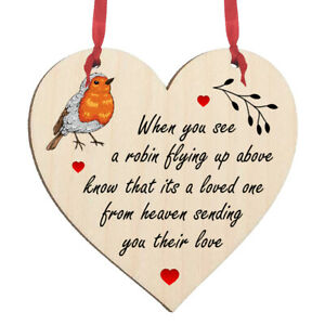 Robin Memorial Wooden Heart Hanging Sign Plaque Decoration Wall Tree Gift