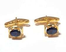 Natural Gem Stone Sapphire & Diamonds Cufflink 925 Sterling Silver Gold Plated