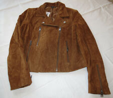 Kendall & Kylie Womens Juniors Suede Leather Jacket biker coat S small Carmel *^
