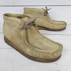 Clarks Wallabee Beige Suede Leather Mid Boots Mens Size 11