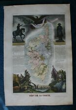 Département De La Corse (Corsica) France by Levasseur Hand Coloured Map pub 1851