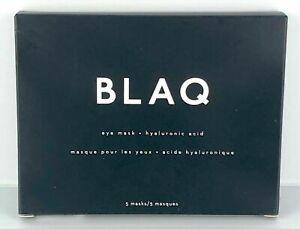 BLAQ Eye Mask Hyaluronic Acid De-puff Detox Activated Charcoal 5 masks New*