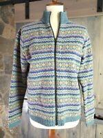 LL Bean Women's Sweater Jacket Lambs Wool Full Zip Front Mock Neck Size S